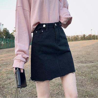 黑色牛仔a字裙有内衬短裙女夏2020新款包臀裙子高腰显瘦半身裙裤
