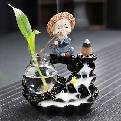 创意倒流香炉陶瓷大号创意时来运转摆件禅意复古茶道观烟香炉塔香
