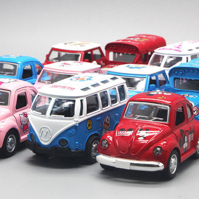 儿童玩具Q版蓝胖子凯蒂猫米老鼠回力合金车前灯光耐玩耐摔