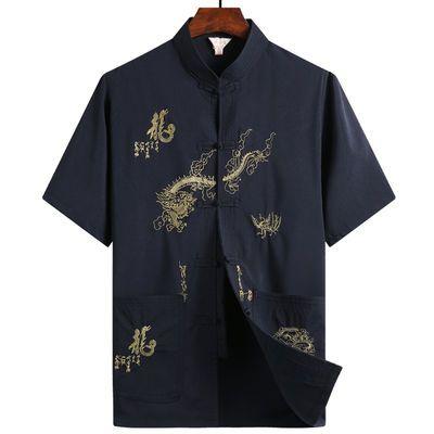 夏季唐装男士中老年人夏装套装爸爸装中国风爷爷老人衣服短袖男装