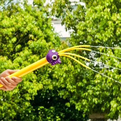 儿童大容量章鱼卡通水枪打水仗抽拉式吸水呲水枪玩具水枪喷射小孩
