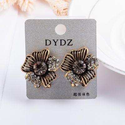欧美潮流原创风复古个性五叶花水晶 气质耳扣式耳钉耳环 韩国 女