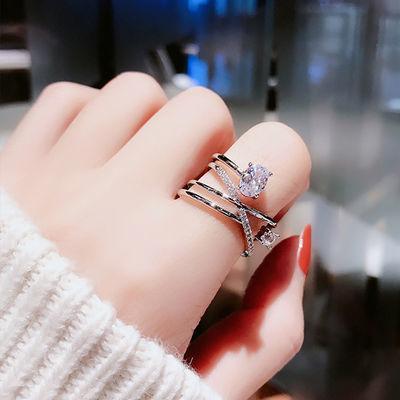 开口可调节韩版戒指女个性时尚复古网红冷淡风食指环装饰品ins潮