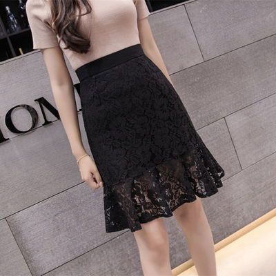 蕾丝包臀裙2020夏季高腰弹力鱼尾短裙子修身显瘦A字裙遮肉半身裙