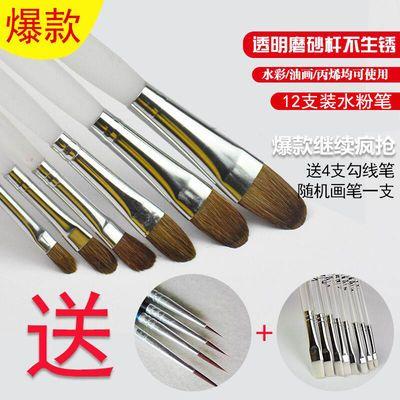 (送4根勾线笔+支画笔)透明磨砂水粉笔 油画笔 绘画狼毫丙烯画笔