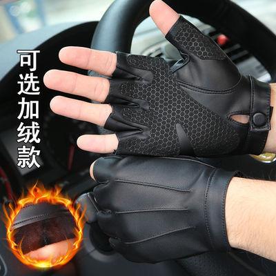 半指皮手套男女春夏季健身运动加绒保暖战术骑行防滑开车半截手套