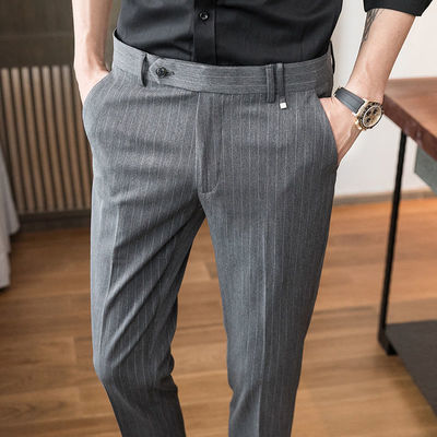 夏季薄款男士商务休闲免烫西装裤子韩版修身条纹直筒小脚西裤男潮