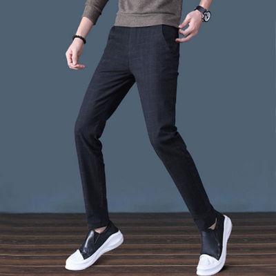秋款休闲裤男装商务修身小脚直筒韩版时尚潮流弹力瘦身男士西裤子
