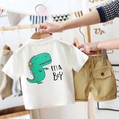 夏季新品男童女童1-3-4岁T恤卡通恐龙款短袖上衣韩版休闲裤套装潮