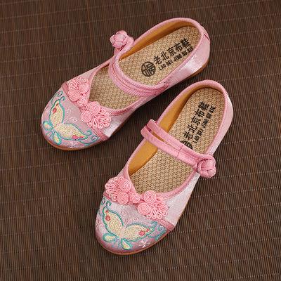 2019新款儿童鞋子古装风女童汉服鞋子老北京女童布鞋绣花鞋民族风