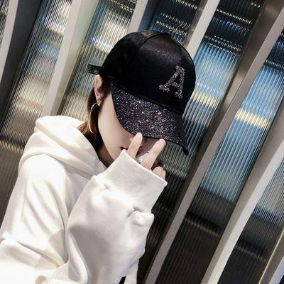 韩版帽子女士春夏天棒球帽韩版潮百搭遮阳字母亮片带钻嘻哈防晒鸭