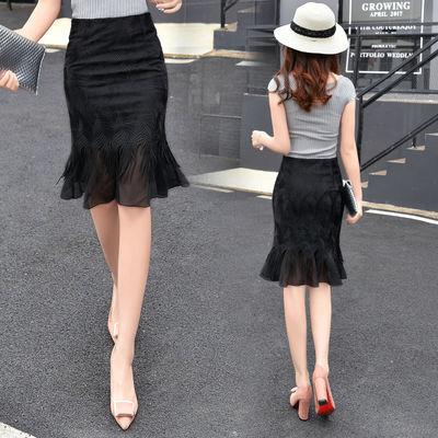 蕾丝鱼尾包臀半身裙短裙夏2019新款女装韩版高腰弹力性感一步裙子