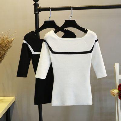 75-160斤针织打底衫女一字领春秋冰丝中袖短款修身套头薄上衣毛衣