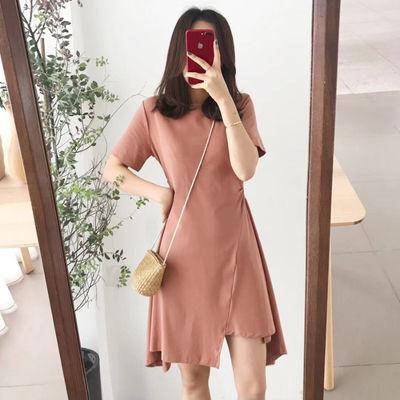 夏季连衣裙2020新款裙子女学生韩版修身气质收腰下摆不规则中长款
