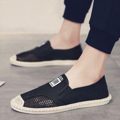 夏季韩版潮流百搭网面豆豆板鞋男士休闲一脚蹬懒人老北京帆布鞋子
