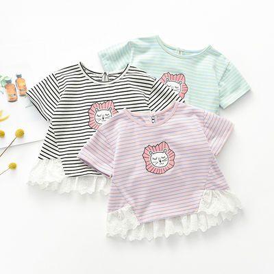 宝宝短袖T恤夏季新生儿上衣洋气女童条纹半袖薄款3岁花边上衣夏装