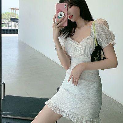 灯笼袖木耳边气质温柔白色高腰纯色短袖中裙连衣裙收腰显瘦短裙子
