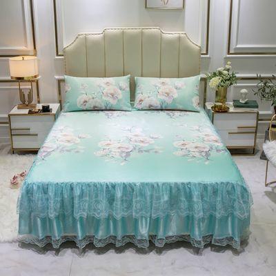 冰丝凉席床裙式三件套可水洗折叠防滑蕾丝边夏季空调软席子1.8