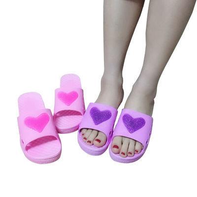 拖鞋女可爱桃心形夏季塑胶简约厚底凉拖鞋浴室软底居家松糕跟拖鞋