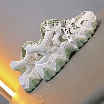 凉鞋女夏季新款学生韩版镂空网透气洞洞鞋平底运动老爹鞋包头外穿