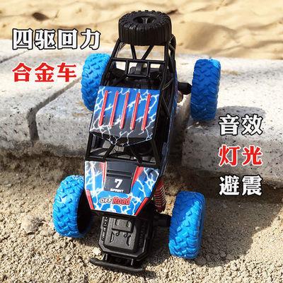 弹簧避震攀爬回力车大轮四驱合金车越野汽车儿童玩具模型音乐灯光