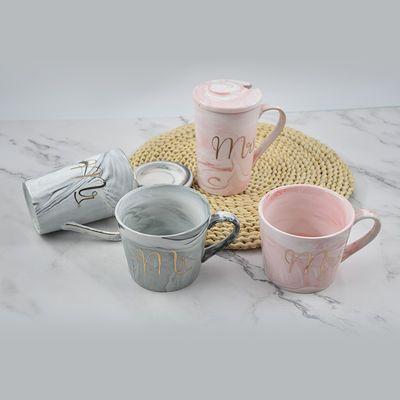 。大理石纹陶瓷大容量马克杯可爱情侣杯子办公室咖啡杯家用水杯少