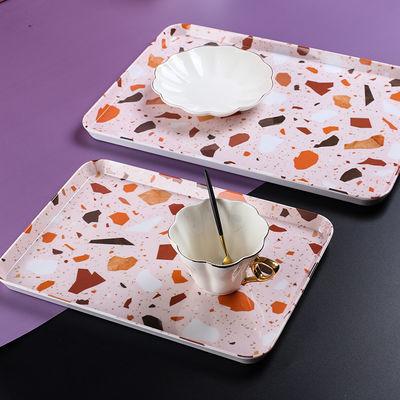 北欧INS果粉色托盘长方形茶盘水杯茶壶托盘收纳盘家用客房盘