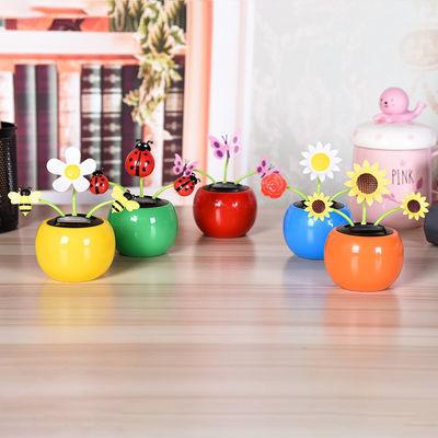 新品热销三朵花太阳能苹果花汽车摆件摇头太阳花车载饰品创意礼品