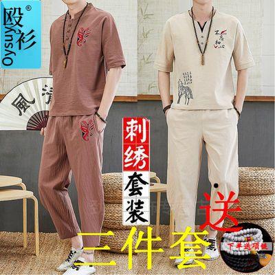 中国风唐装男夏季棉麻套装男刺绣上衣古装汉服中式两件套民族服饰