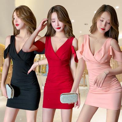 夏装新款夜店女装性感连衣裙女夜场气质低胸收腰包臀露胸露肩短裙