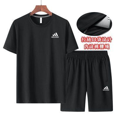 运动套装男夏季纯棉两件套休闲跑步圆领短袖五分裤中年大码短套男