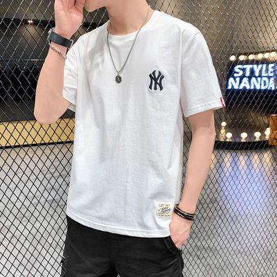夏季纯棉t恤男宽松短袖韩版圆领半袖男青年大码百搭短袖体恤男潮