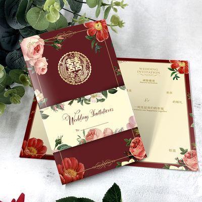 【免费打印】【50张】欧式请柬酒红色请帖结婚创意森系婚礼喜帖