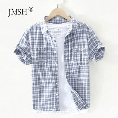 极麻复古格子条纹短袖衬衫男士休闲夏季透气文艺青年宽松纯棉衬衣