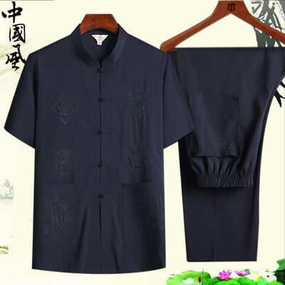中老年人唐装短袖老人衣服爷爷装套装中国风中年男士爸爸薄款夏装