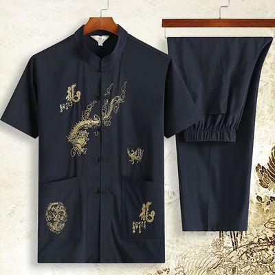 中老年男夏装国风和尚服成人汉大袖军雏田衣龙袍短唐套爸古代士季