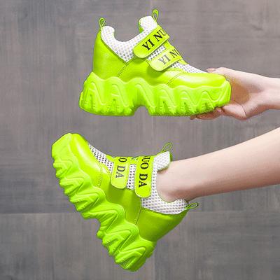 2020春夏季新款8cm内增高透气小白鞋女厚底网面老爹鞋休闲运动鞋