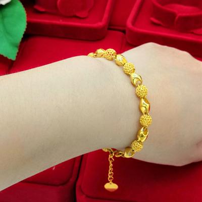 正品黄金色手链女手镯招财千手链转运珠时尚珍品永不掉色气质礼物