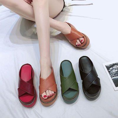 厚底拖鞋女2020夏季新款外穿松糕防滑时尚女士坡跟增高凉拖鞋子潮