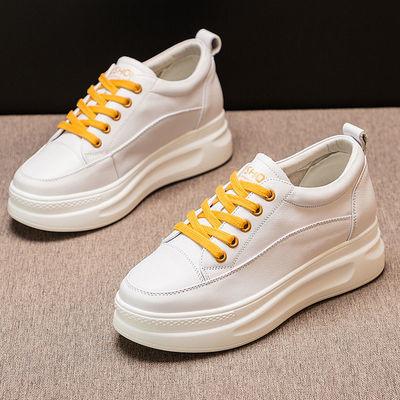 真皮内增高小白鞋女厚底2020春夏新款百搭松糕鞋网面透气夏季薄款