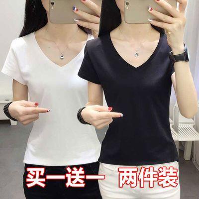 V领白色t恤女短袖夏季女装韩版修身纯色打底衫大码百搭半袖上衣服
