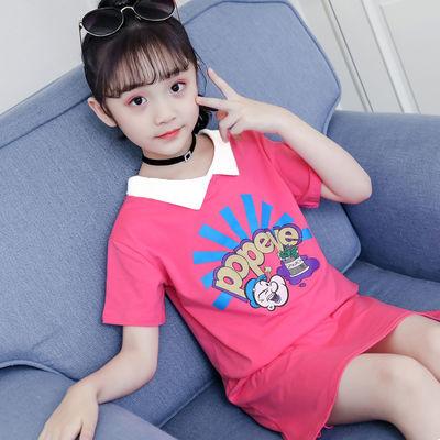 新款女童夏装短袖t恤洋气长款打底衫13岁女孩衣服儿童纯棉上衣童