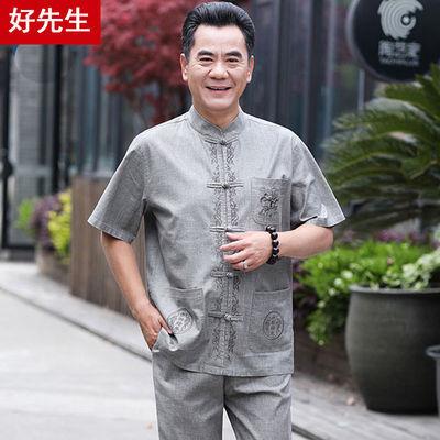 中老年人唐装男套装中国风亚麻爸爸夏季短袖棉麻汉服爷爷休闲衣服