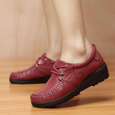 城市 骆驼女鞋真皮坡跟鞋女士休闲厚底鞋舒适防水台妈妈鞋中老年