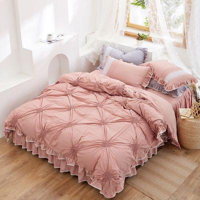 100%纯棉被套床罩四件套双人全棉水洗棉花边床裙款公主风床上用品