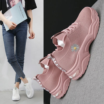 镂空网面飞织透气运动鞋女2020夏季新款韩版百搭学生轻便跑步鞋子