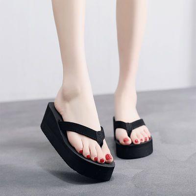 新款高跟厚底拖鞋女夏沙滩防滑人字拖女士学生时尚韩版外穿凉拖