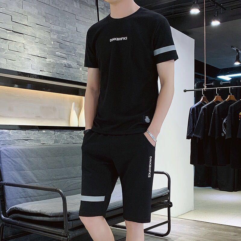 夏季套装男潮流宽松学生五分袖半袖休闲短套装运动两件套男短袖