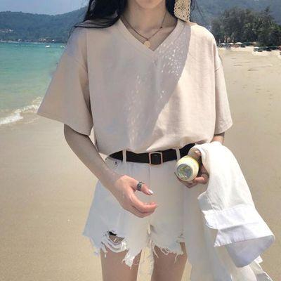 夏季2020年新款韩版宽松短袖T恤女夏ins潮学生打底衫春秋V领上衣