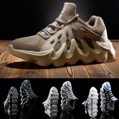 品牌流行男鞋 2020春夏新款系带平跟运动休闲鞋网纱织物圆头橡胶
